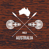 Australian wood texture. Australian travel design elements in vintage style on wooden background texture. Perfect for logotypes, badges, labels, shirts and other vector illustration