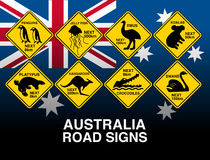 Australian yellow road warning signs with flag Stock Photos