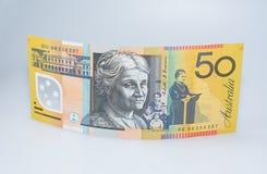 Australiano cédula de cinqüênta dólares que levanta-se fotografia de stock royalty free
