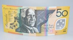 Australiano cédula de cinqüênta dólares que levanta-se Fotografia de Stock