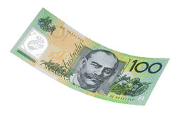 Australiano cento note del dollaro isolate Fotografie Stock