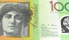 Australiano cientos notas del dólar - ascendente cercano Imagenes de archivo