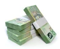Australiano cientos paquetes de las notas del dólar Imágenes de archivo libres de regalías