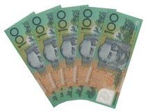 Australiano cinco 100 notas del dólar Fotos de archivo libres de regalías