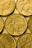 Australiano lle monete dell'un dollaro Fotografia Stock