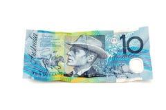 Australiano nota de diez dólares imagen de archivo