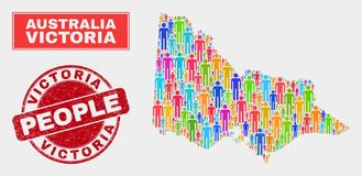 Australiano Victoria Map Population Demographics e selo sujo ilustração do vetor