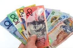 Australiano y billetes de banco del dólar de Nueva Zelanda Imágenes de archivo libres de regalías