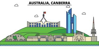 Australie, Canberra Architecture d'horizon de ville illustration de vecteur