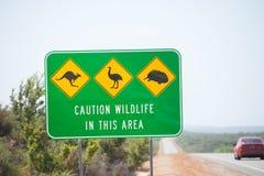 Australie d'avertissement du trafic de faune à l'intérieur Images stock