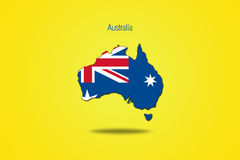Australie d'isolement sur le fond jaune Photographie stock