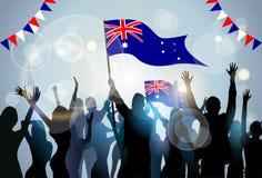 Australie de drapeau de prise de foule de silhouette de groupe de personnes illustration de vecteur