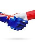 Australie de drapeaux, pays de Frances, amitié d'association, équipe de sports nationale Photo stock