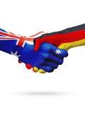 Australie de drapeaux, pays de l'Allemagne, amitié d'association, équipe de sports nationale Images libres de droits