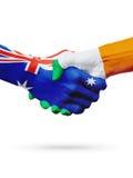 Australie de drapeaux, pays de l'Irlande, amitié d'association, équipe de sports nationale Images stock