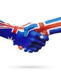 Australie de drapeaux, pays de l'Islande, amitié d'association, équipe de sports nationale Photos libres de droits