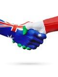 Australie de drapeaux, pays de l'Italie, amitié d'association, équipe de sports nationale Photo stock