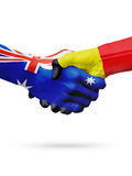 Australie de drapeaux, pays de la Belgique, amitié d'association, équipe de sports nationale Photo libre de droits