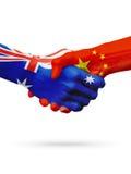 Australie de drapeaux, pays de la Chine, amitié d'association, équipe de sports nationale Photo libre de droits