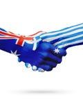 Australie de drapeaux, pays de la Grèce, amitié d'association, équipe de sports nationale Image libre de droits