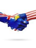 Australie de drapeaux, pays de la Malaisie, amitié d'association, équipe de sports nationale Photographie stock