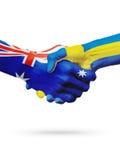 Australie de drapeaux, pays de la Suède, amitié d'association, équipe de sports nationale Image libre de droits