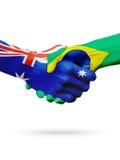 Australie de drapeaux, pays du Brésil, amitié d'association, équipe de sports nationale Photographie stock libre de droits