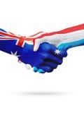Australie de drapeaux, pays du luxembourgeois, amitié d'association, équipe de sports nationale Images stock