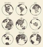 Australie de l'Amérique Afrique l'Europe Asie de globe de croquis illustration de vecteur