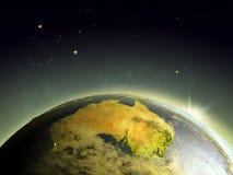 Australie de l'espace dans le lever de soleil illustration stock