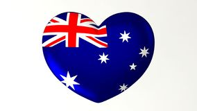 Australie en forme de coeur d'amour de l'illustration I du drapeau 3D illustration libre de droits
