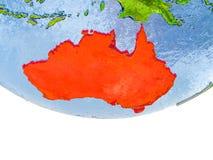 Australie en rouge sur le modèle de la terre Photographie stock libre de droits