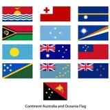 Australie et Océanie continentes de drapeau Images libres de droits