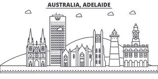 Australie, ligne illustration d'architecture d'Adelaïde d'horizon Paysage urbain linéaire de vecteur avec les points de repère cé illustration de vecteur