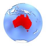 Australie sur le globe métallique d'isolement illustration de vecteur