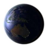 Australie sur terre la nuit d'isolement sur le blanc Photo libre de droits