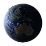 Australie sur terre la nuit d'isolement sur le blanc Image stock