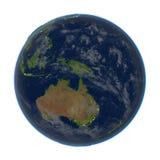 Australie sur terre la nuit d'isolement sur le blanc Photos stock