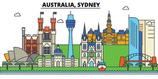 Australie, Sydney Architecture d'horizon de ville editable illustration libre de droits
