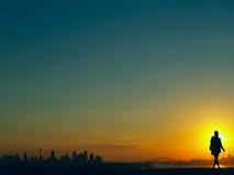 Australien över solnedgången sydney Arkivfoto