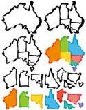 Australien översikt med borsteslaglängden Royaltyfri Fotografi