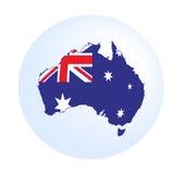 Australien översikt med flaggan Arkivfoto