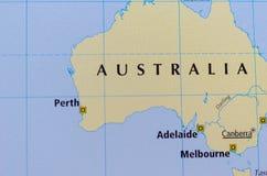 Australien auf Karte Stockfotografie