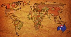 Australien auf Karte der Welt Stockfoto