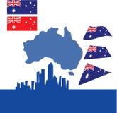 Australien australier, baner, blått, kontinent, land stock illustrationer