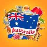 Australien bakgrundsdesign Australiska traditionella klistermärkesymboler och objekt stock illustrationer