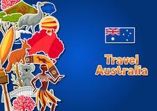 Australien bakgrundsdesign Australiska traditionella klistermärkesymboler och objekt vektor illustrationer