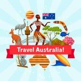 Australien bakgrundsdesign Australiska traditionella symboler och objekt royaltyfri illustrationer