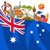 Australien bakgrundsdesign Australiska traditionella symboler och objekt stock illustrationer