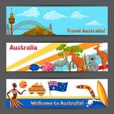 Australien banerdesign Australiska traditionella symboler och objekt stock illustrationer